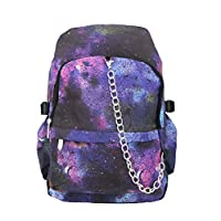 Space Galaxy Pattern Backpack Rucksack - Black / Purple School College Cosmos Bag