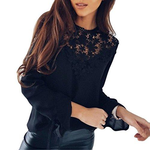 ESAILQ Damen Tunika Sommer Tops Damen Kurzarm Basic Uni Leichtes Freizeit Rundhals mit Knopf Plissee T-Shirt Oberteile(XL,Schwarz)