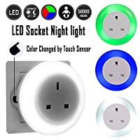 Emotionlite LED Plug Through Socket Night Light with Dusk to Dawn Senor Night lamp Children Protect Socket Indicator Lighting Mood Lighting Multi Colors (Green, Blue, WarmWhite) Interchangeable 0.6W 2990W 13A (2 Pack) from Emotionlite