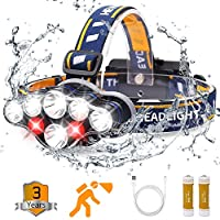 Headlamp, Rechargable Headlamp Flashlight 8 LED 20 modes Headlight with White Red Lights Waterproof HeadLamps for Adults Camping Hunting Running Fishing Outdoors Hard Hat Work