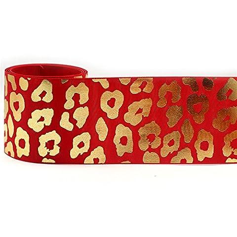 mdribbons valeur 7,6cm Lot de 10mètres/Lot (Large 9.144M Longueur 75mm) Grand Imprimé Léopard Or ribbon- nœuds et cheveux crafts- DIY travaux manuels (Boîte, fleurs, Parti, gros nœud gros-grain pour décoration de Cheer nœuds)