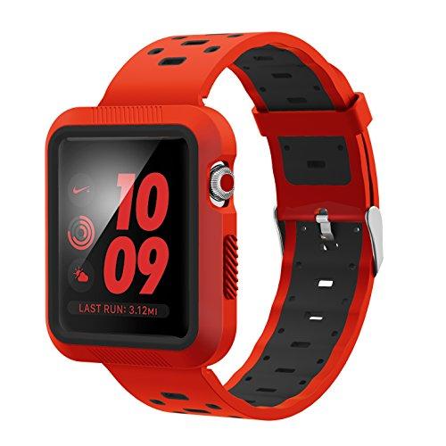 Aresh für Apple Watch Series 3 Zubehör Band, Quick Release Soft-Silikon-Kautschuk-Uhrenarmband für Apple Watch Series 3 / Serie 2 / Serie 1 (Rot/Schwarz-42mm)