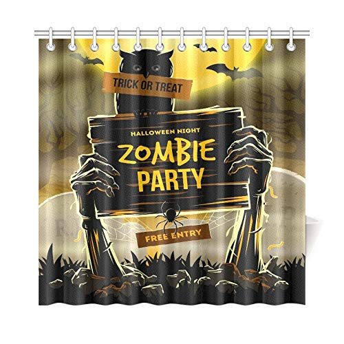 JOCHUAN Wohnkultur Bad Vorhang Halloween Dead Mans Arms Polyester Stoff Wasserdicht Duschvorhang Für Badezimmer, 72X72 Zoll Duschvorhang Haken Enthalten
