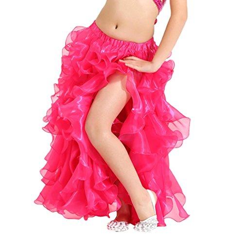 YuanDian Mädchen Einfarbig Bauchtanz Kleid Professionelle Moderne Tanz Kinder Prinzessin Party Öffnungs Swing Long Rock Rose S