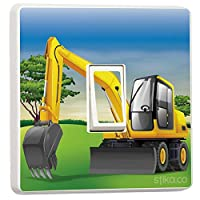 JCB Excavator Digger Light Switch Sticker vinyl cover skin Bedroom Playroom Children Home Decorative Accessories