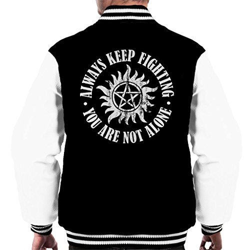 Supernatural Keep Fighting Anti Possession Symbol Men's Varsity Jacket (Supernatural Deans Jacke)