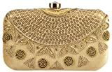 Tooba Handicraft Party Wear Hand Embroidered Box Clutch Bag Purse For Bridal, Casual, Party , Wedding ( gold sequence necklace 6x4)