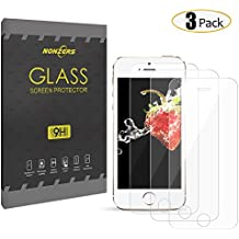 3-Unidades Protector de Cristal Templado para iPhone 5/5c/5s/SE, NONZERS Protector de Pantalla con 3D Tacto ,9H Dureza , Fácil de Instalación Sin Burbujas,Vidrio Templado Duradero,Resistente a Arañazo