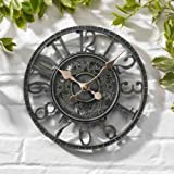 Garden Mile Large 30cm Vintage Open Face Blue Slate Effect Weatherproof Outdoor indoor Garden Wall Clock Decorative Fence Garden Ornament (Blue Slate Effect Open Face 30cm Clock (GCLOCK7))
