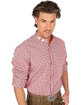 orbis Textil Trachtenhemd Stehkragen Rot Weiss