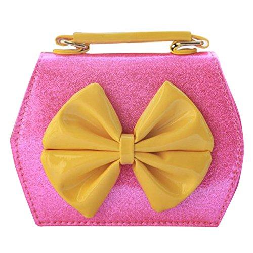 Happy Cherry Kleines Mädchen Tasche Kinder Umhängetasche Mode Frauen Schultertasche PU Leder Handtasche Mit Schleife Verstellbarer Schultergurt Taschen Henkeltasche Girls Bag 16 * 8 * 12,5cm - Gold Neon Pink