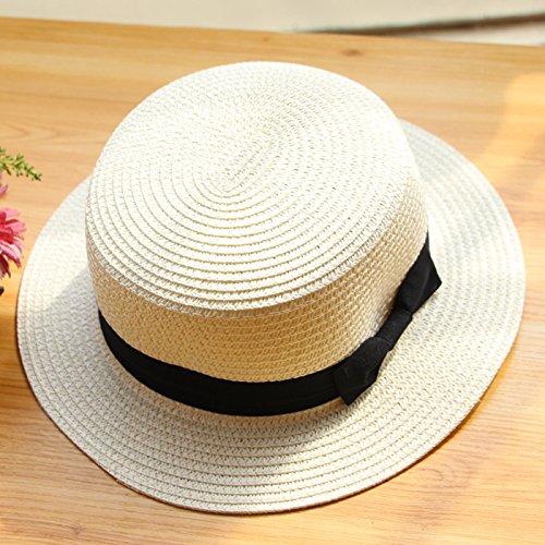 zhangyongsmall-cap-summer-female-visor-england-straw-hat-bow-tie-flat-top-beach-hats-spring-m-56-58c