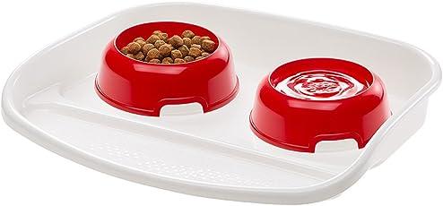 Ferplast Futterbar Lindo aus Kunststoff mit zwei abnehmbaren Näpfen zur einfachen Reinigung / Futterstation mit praktischer Kunststoffschale in Rot und Weiß / Maße: 44,5 x 34 x 7 cm