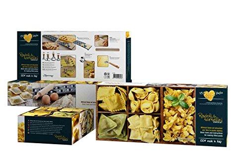We Love Pâtes 36 x 15 x 8,5 cm Plage en Bois à Ravioli et, tortelini, emporte-pièces, Marron