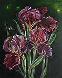 Bild Blumen Blüten Iris modern Malerei Kunst Original Ölmalerei Gemälde 24x30 cm