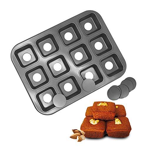 HOMOW Backform Brownie Bar, antihaftbeschichtet, Mini-Käsekuchenform mit abnehmbarem Boden, quadratische Kuchenform, 12 Mulden, Schwarz (13,8 x 10,4 x 1,4) (Mini-tarte-kuchenform)