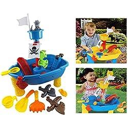 Brigamo 8939-Bateau pirate, table de jeu d'eau pour enfants, jouets pour la baignoire ou le bac à sable