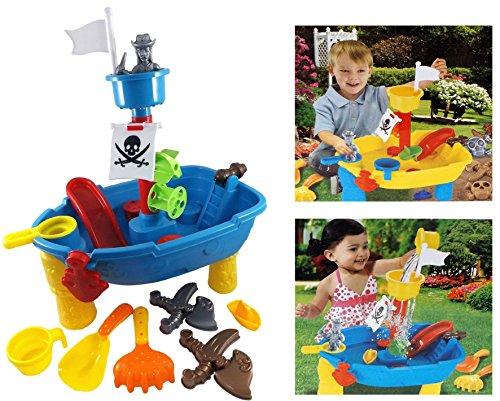 Brigamo 8939 - Piratenschiff Spieltisch Wasserspielzeug für Kinder, Spielzeug für die Badewanne Oder Sandkastenspielzeug
