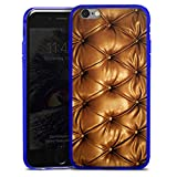 Apple iPhone 6s Slim Case transparent blau Silikon Hülle Schutzhülle Leder Muster Sofa Leder Couch Look