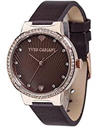 Yves Camani Damen-Armbanduhr Toulon mit Steinbesetzem Zifferblatt und hochwertigem Edelstahl-Gehäuse. Klassische Quarz Damen-Uhr mit steinbesetzer Lünette und braunem Leder-Armband