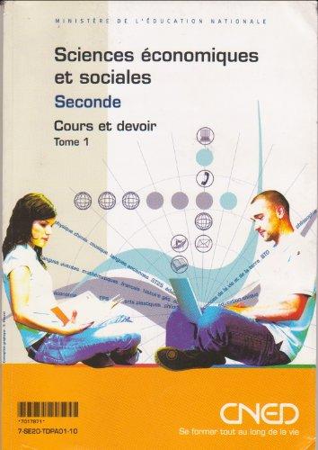 Sciences économiques et sociales, tome 1