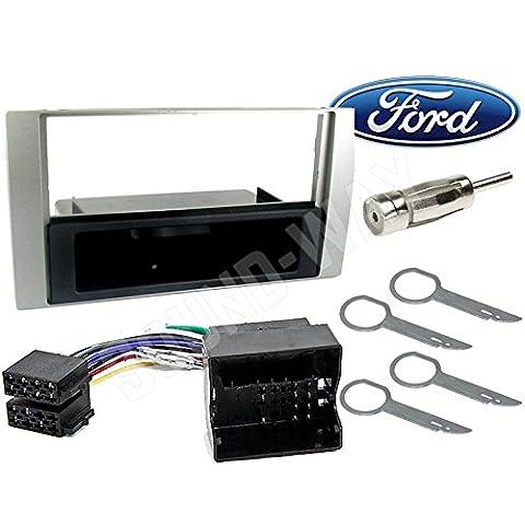 Kit de montage autoradio 1 DIN avec tiroir argenté pour Ford C-Max / Focus / Fiesta / Fusion / Galaxy / Kuga / S-Max / Transit