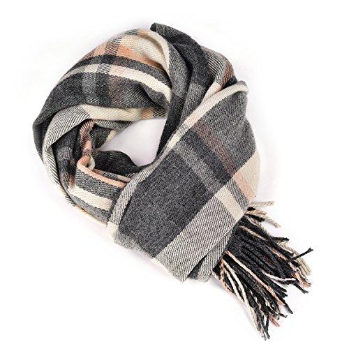 """Damen Winter Schals und Wraps Damen Schals, lange warme karierte Decke Tartan Schal (Grau, ange 70"""" * 25"""", 2"""" Fransen.)"""