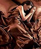 1001 NUITS ENCHANTEES Parure de Lit Satin Marron Chocolat 6 pcs Housse de Couette...
