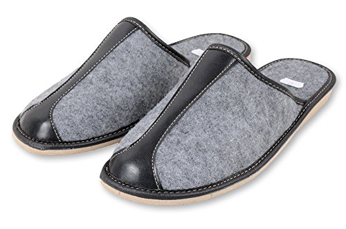 Gemütliche Filzpantoffeln warme Indoor Hausschuhe: Offene Filzlatschen mit Anti-Rutsch Filzsohle & Handgravur Schuhe aus Filz für Herren (44)