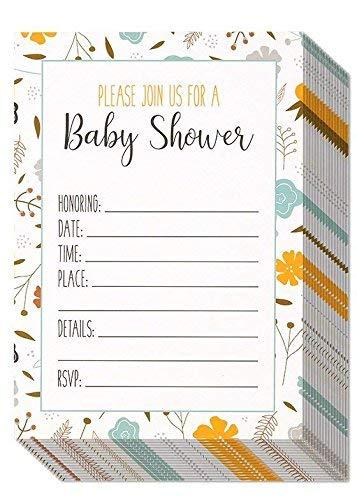 Amtsheftung Baby Dusche Einladungen-Liebenswürdig, Muster, Laden Karten für Ihre Feier-inklusive 50weiße Briefumschläge-12,7x 17,8cm ()