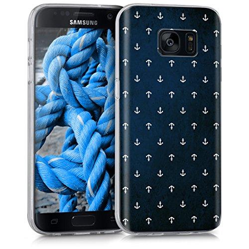 kwmobile Samsung Galaxy S7 Hülle - Handyhülle für Samsung Galaxy S7 - Handy Case in Weiß Dunkelblau