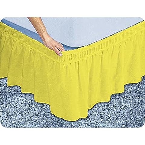 Scala 1PCs Wrap Around falda de cama(Amarillo Sólido , Reino Unido individual(3 ft x 6ft 3in) , Drop Length 38cm) 100% de algodón egipcio Alta Calidad 300 Thread