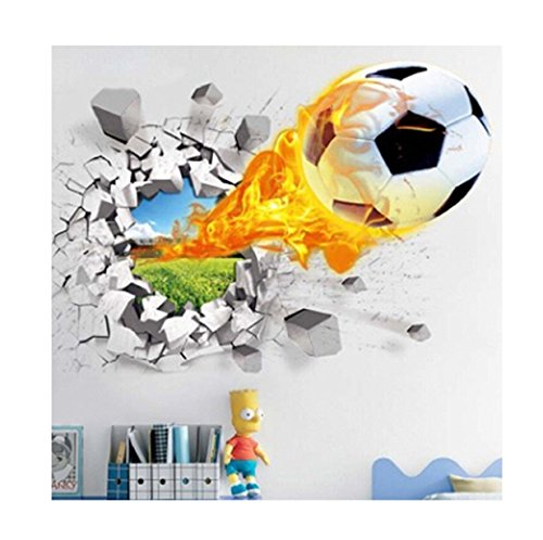 (EJY 3D Wandtattoo Wandaufkleber Wall sticker Aufkleber DIY Dekoration für Wohnzimmer Schlafzimmer Kinderzimmer (Fußball))