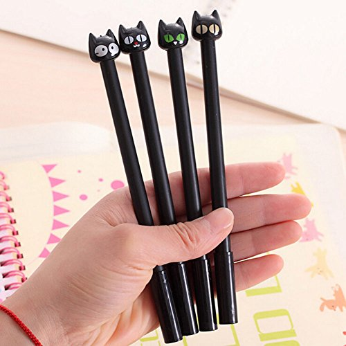 Bodhi2000Süße Katzen-Kugelschreiber, 4 Stück, schwarze Gel-Tinte, 0,5mm Spitze – Schreibwaren, Bürozubehör, Geschenk zum Schulanfang – Farbe:Zufällige Auswahl 4pcs Cat Pens