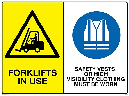 """Preisvergleich Produktbild Viking Schilder CP5283-A3L-3M Schild""""Gabelstapler in Gebrauch,  Sicherheitswesten oder hohe Sichtbarkeit Kleidung muss getragen werden"""",  3 mm Kunststoff,  starr,  400 mm H x 300 mm B"""