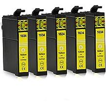 5 Cartuchos de tinta compatible con Epson 16-XL / T1624 / T1634 (Amarillo) para Epson WorkForce WF-2010 WF-2500 WF-2510 WF-2520 WF-2530 WF-2540 WF-2630 WF-2650 WF-2660 WF-2700 WF-2750 WF-2760