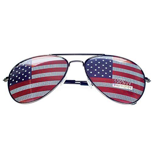 SA106 Patriotische amerikanische Flagge in Print-Objektiv Piloten Sonnenbrille - 2 amerikanische Flagge Einheitsgröße Silber