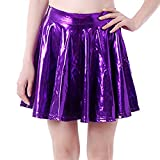 CICIYONER Metallischer Faltenrock Mini Skater Rock Frauen Röcke Shiny Metallic Dancewear Hohe Taille Kurz Mini Hippie Röck Flared Ausgestellt Kunstleder Vintage Kleid Minikleid Minirock