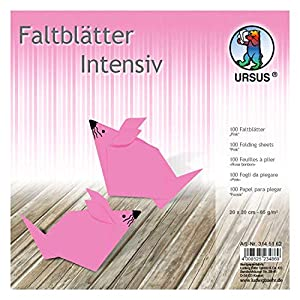 Ursus 3145162 - Hojas Plegables (100 Unidades, 65 g/m², 20 x 20 cm, para Artistas de Origami, teñidas), Color Rosa