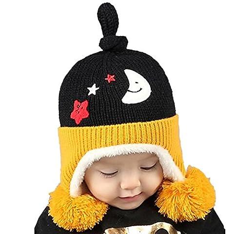 Bluestercool Chapeau fille bébé mignon hiver boule de fourrure tricotée