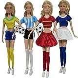 Lance Home®4 Set Moda Fatto a Mano Abbigliamento Casual Maglie da calcio Costume Manica Corta Pantaloni per Fidanzato di Barbie Bambole di Barbie Stili Casuali