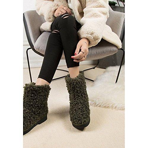 HSXZ Scarpe donna pu floccaggio Autunno Inverno Comfort Snow Boots stivali tacco piatto rotondo Mid-Calf Toe stivali per Casual verde grigio nero Black