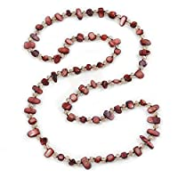 Avalaya Long Dark Burgundy Shell Nugget and Transparent Glass Crystal Bead Necklace - 110cm L