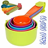 #8: DREAMHUB (TM) Combo Baking Measurement Measuring Cups 5 Pieces & Spoons 5 Pieces Set Of Each Big & Small (Multi-Colour)