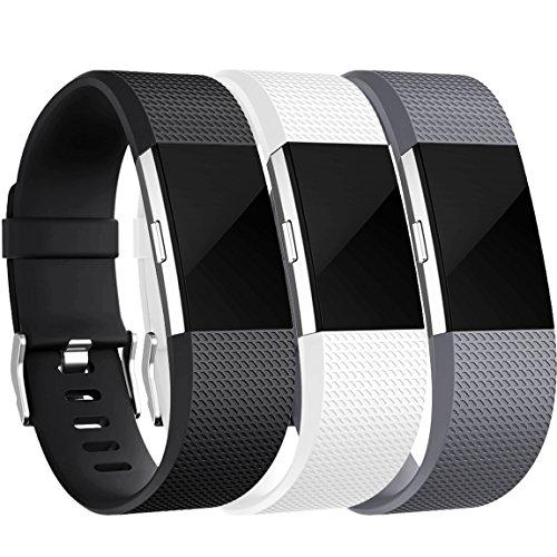 Fitbit Charge 2 Armband, HUMENN Charge 2 Armband Weiches Silikon Sports Ersetzerband Fitness Verstellbares Uhrenarmband für Fitbit Charge2 Large 3 Farbe-5