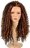 Hair By MissTresses lange Spirale Afro Curl Perücke mit Kupfer Highlights/Lace Front Queen B Perücke/im Stil von Beyonce dunkelbraun