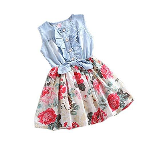 ädche Prinzessin Kleid,Denim Rüschen T Shirt Tops Blumenmuster Tutu Rock Set Maxikleid Niedlich Partykleid Outfits Sommerkleid Baby Strandkleid Minikleid Tüllkleid (130, Blau) ()
