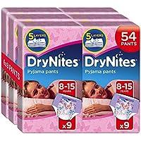 Huggies DryNites Girl hochabsorbierende Pyjamahosen Unterhosen für Mädchen 8-15 Jahre, 6er Pack (6 x 9 Windeln)