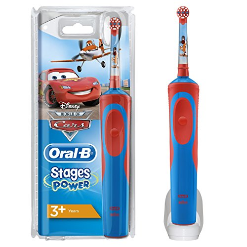 Oral-B Vitality Stages Power Electric Toothbrush Rechargeable for Kids Featuring Disney Cars Characters, 1 Handle, 1 Toothbrush Head