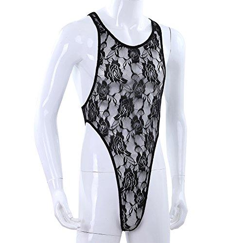 CHICTRY Transparent Herren Body Spitze String Body Bikini Slip Unterhemd Top Männer Bodysuit Gr. M L XL Schwarz